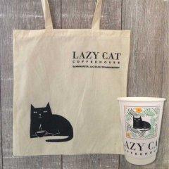 Beutel und Kaffee-To-Go-Becher Lazy Cat